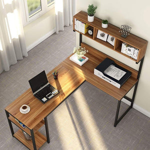 Get tribesigns l shaped desk with hutch 68 corner computer desk gaming table workstation with storage bookshelf for home office dark walnut