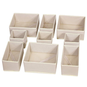 DIOMMELL 9 Pack Foldable Cloth Storage Box Closet Dresser Drawer Organizer Fabric Baskets Bins Containers Divider with Drawers for Baby Clothes Underwear Bras Socks Lingerie Clothing,Beige 333