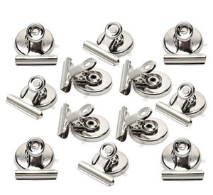 Strong Magnetic Clips - Heavy Duty Refrigerator Magnet Clips - 31mm Wide Scratch Safe - Clip Magnets Best for House Office School Use, Hanging Home Decoration, Photo Displays(12Pack)