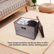 Great large linen fabric foldable storage container 2 pack with removable lid and handles storage bin box cubes organizer gray for home office nursery closet bedroom living room