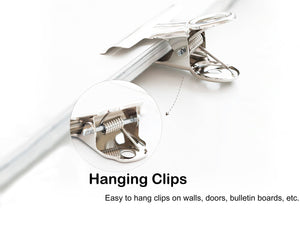 Metal Hinge Clips, Silver Bulldog Clips for Pictures and Home Office Supplies 40 Pcs 4 Sizes (0.87 Inch, 1.25 Inch, 2 Inch, 2.5 Inch)