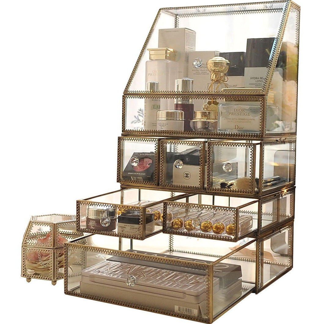 Antique Spacious Makeup Organizer Mirror Glass Drawers Set/ Brass Metal Cosmetic Vanity Storage /Stunning Jewelry Cube Countertop Dresser/Vintage Makeup Holder Nightstand for Perfume/Brushes/Skincare