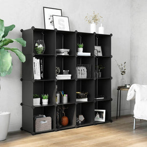 Shop songmics cube storage organizer 16 cube book shelf diy plastic closet cabinet modular bookcase storage shelving for bedroom living room office 48 4 l x 12 2 w x 48 4 h inches black ulpc44bk