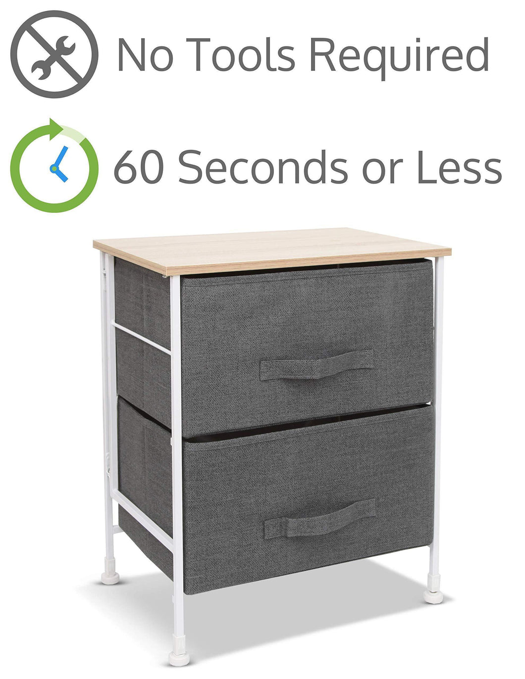 Luxton Home 2 Drawer Storage Organizer - 60 Second Fast Assembly, No Tools Needed, Small Gray Linen Tower Dresser Chest Dorm Room Essential, Closet, Bedroom, Bathroom (2D,Grey)
