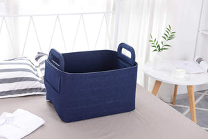 Purchase storage basket felt storage bin collapsible convenient box organizer with carry handles for office bedroom closet babies nursery toys dvd laundry organizing