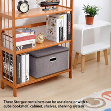 Get large linen fabric foldable storage container 2 pack with removable lid and handles storage bin box cubes organizer gray for home office nursery closet bedroom living room