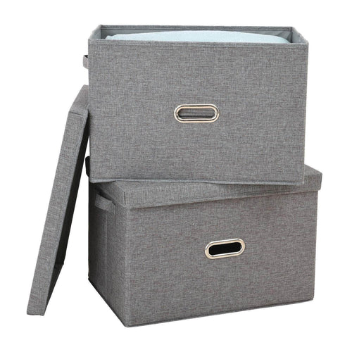 Save on polecasa storage bins with lid 2 pack removable lid collapsible stackable linen fabric storage cubes boxes containers organizer basket for home office bedroom closet and shelveslarge 38l