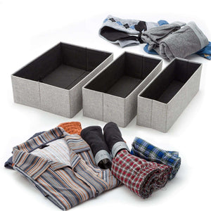Best seller  foldable closet drawer organizer set of 3 storage containers moisture and dust proof storage baskets beautiful textured fabric sturdy build perfect for home and office gray birch