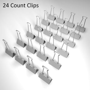 Nctinystore Binder Clips Medium Metal Clamp - 1-1/4 in (1.25 inch) (Silver, 24 - Count)