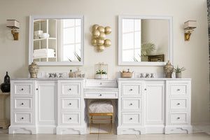 "De Soto 118"", James Martin Bright White Bathroom Vanity, double sink"