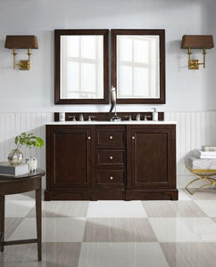 "De Soto 60"", James Martin Burnished Mahogany Bathroom Vanity, double sink"