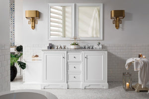 "De Soto 60"", James Martin Bright White Bathroom Vanity, double sink"