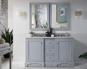 "De Soto 60"", James Martin Silver Grey Bathroom Vanity, double sink"