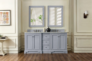 "De Soto 72"", James Martin Silver Grey Bathroom Vanity, double sink"