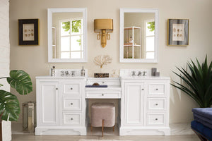 "De Soto 82"", James Martin Bright White Bathroom Vanity, double sink"