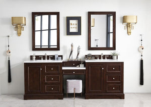 "De Soto 94"", James Martin Burnished Mahogany Bathroom Vanity, double sink"