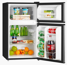 Latest midea whd 113fss1 double door mini fridge with freezer for bedroom office or dorm with adjustable remove glass shelves compact refrigerator 3 1 cu ft stainless steel