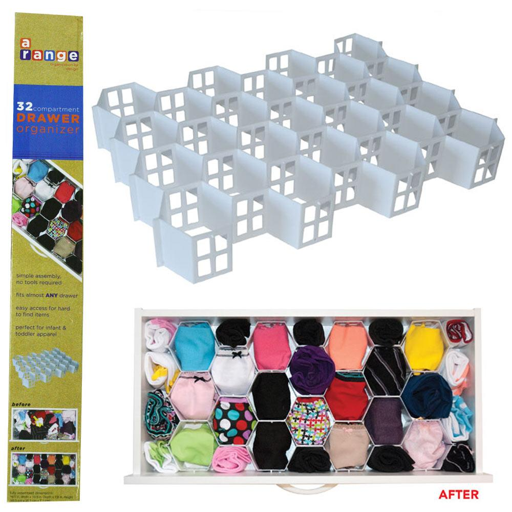 32 Section Foldable Undergarment Drawer Organizer Easy Sock Storage Holder New !