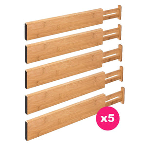 RAPTUROUS Bamboo Drawer Dividers - Pack Of 5 Expandable Drawer Organizers With Anti-Scratch Foam Edges - Adjustable Drawer Organization Separators For Kitchen, Bedroom, Baby Drawer, Bathroom & Desk
