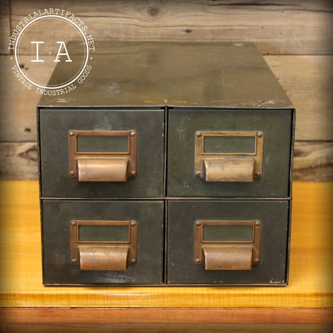 Vintage Industrial Green Steel Card Catalog Style File Cabinet Drawer Organizer