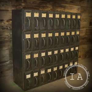Vintage Industrial Steel Binder File Filing Cabinet Thirty Six Drawer Organizer Card Catalog Tag Holders