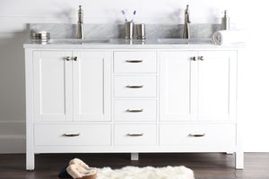 "Abigail 60"", Naos, Bright White Bathroom Vanity with 3cm Bianco Carrara Marble Top, Double Sink"