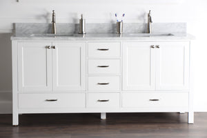 "Abigail 72"", Naos, Bright White Bathroom Vanity with 3cm Bianco Carrara Marble Top, Double Sink"