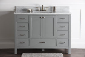 "Abigail 48"", Naos, Slate Grey Bathroom Vanity with 3cm Bianco Carrara Marble Top"