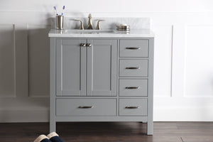 "Abigail 36"", Naos, Slate Grey Bathroom Vanity with 3cm Bianco Carrara Marble Top, left sink"