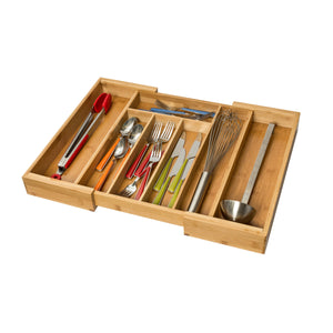 Expandable Bamboo Kitchen Drawer Organizer