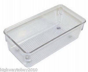 "(12) Interdesign / Linus 52330 3"" x 6"" x 2"" Clear Drawer Storage Organizer Bins"
