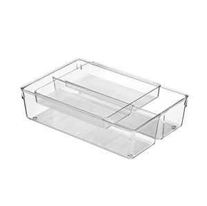 Linus 2 Piece Drawer Organizer, 8x12x3, Clear