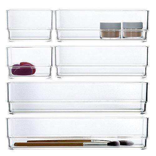 Clear Plastic Makeup Drawer Organizers | 6 Piece Set