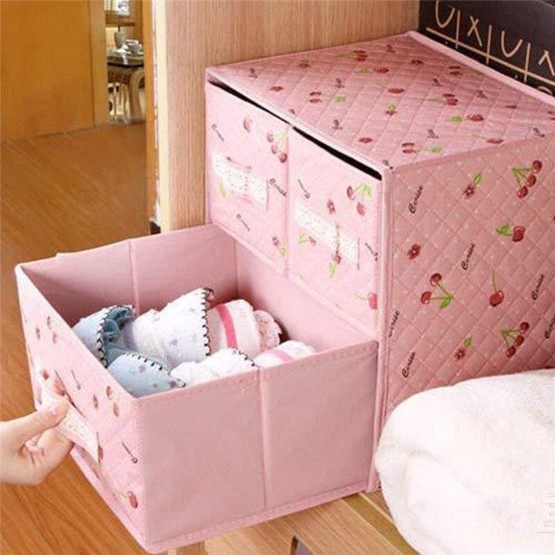 Pink Cherry Blossom Non-Woven Fabric Two Tier Three Drawer Organizer Lingerie,Accessories
