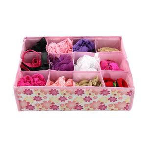 12 Grid Underwear Bra Organizer Storage Box Colors Rose Drawer Closet Organizers Boxes For Underwear Scarfs Socks Bra
