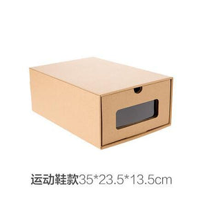3pcs DIY Kraft paper shoes storage box with transparent window Environmentally Folding drawer type finishing box shoe organizer