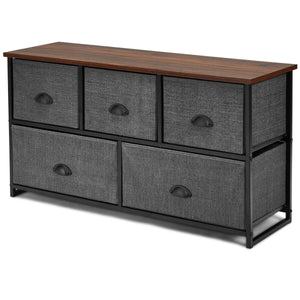 Dresser Storage Unit Side Table Display Organizer Dorm Room Wood-Black