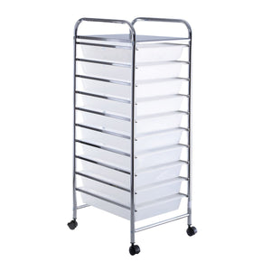 10 Drawer Rolling Storage Cart Organizer-Clear