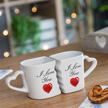 Tazze Unite con Manici Cuore I Love You (Set da 2)