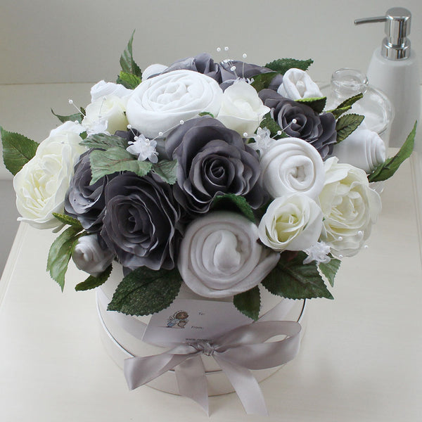 Baby clothes bouquet in grey - unisex / gender neutral colour