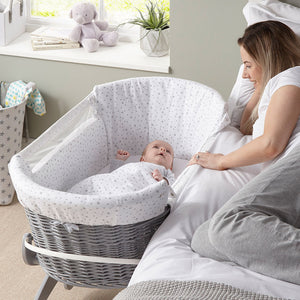 Bedside Crib with visible side panels to view baby from the comfort of your bed