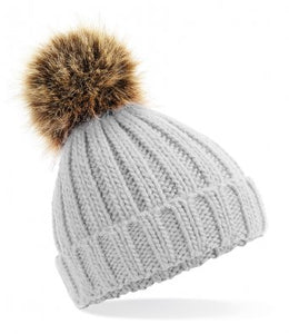 Grey Faux Fur Pom Pom Beanie Hat