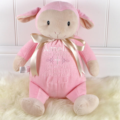 Personalised Christening Lamb - Pink