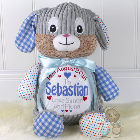 Personalised Patchwork Rabbit - Blue