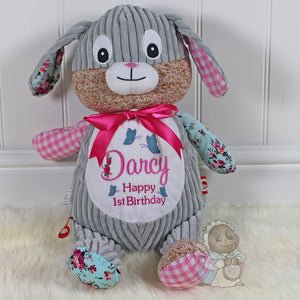 Personalised Toy Patchwork Rabbit by Mrs Prickles Personalised Gifts add any message