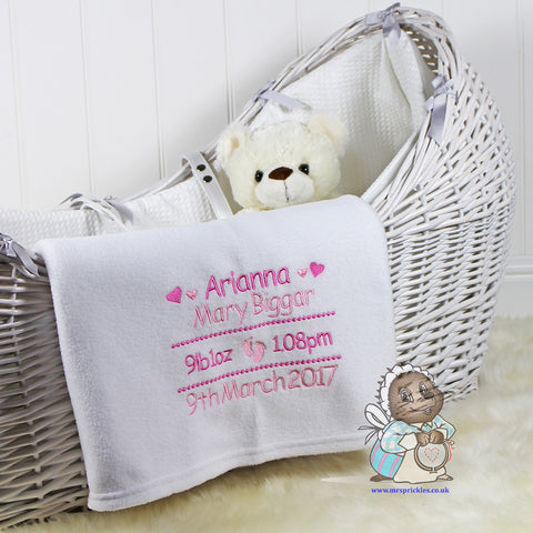 Personalised Birth Details Blanket