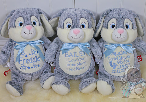 Personalised Birth Details Soft Toy - Grey Bunny