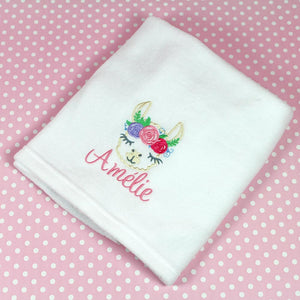 Personalised Baby Blanket - Pretty Llama Design