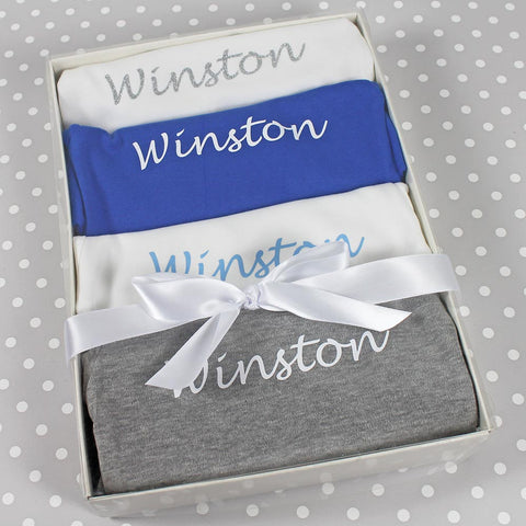 Personalised Baby Bodysuit Boxed Gift Set