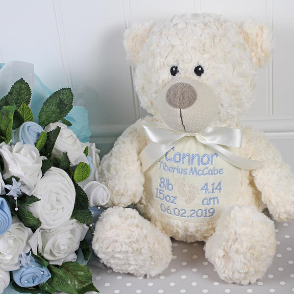 Personalised Birth Details Soft Toy - Cream Bear